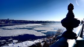 View of the St. Lawrence River Quebec. View of the St. Lawrence River with ice patches as seen from Quebec City winter scenery Canada stock images