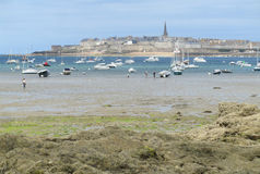 View of St. Malo, France. DINARD, FRANCE, JULY 20 2015: A view of the old walled town of St.Malo in Brittany in France, from the south west. St. Malo is a hugely Stock Image