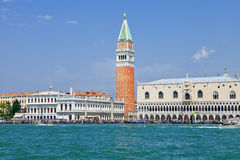 View of the St. Mark's Square from the sea Royalty Free Stock Images