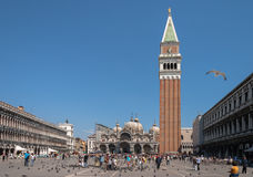 View of St. Mark`s Square and Tower in Venice Royalty Free Stock Photo