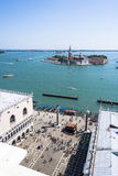 View from St. Mark`s Tower in Venice on San Giorgio Maggiore Stock Photos