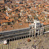 View from St. Mark`s Tower in Venice on St. Mark`s Square an the Old Town Royalty Free Stock Images