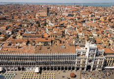 View from St. Mark`s Tower in Venice on St. Mark`s Square an the Old Town Stock Photo