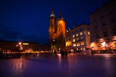 View of St Mary's Basilica, Rynek Glowny, Krakow Stock Photo