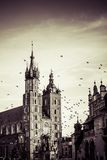 View at St. Mary's Gothic Church, famous landmark in Krakow, Poland. Stock Photos