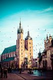 View at St. Mary's Gothic Church, famous landmark in Krakow, Poland. Royalty Free Stock Photography