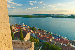 View from St Michael Fortress to the old town with Cathedral of St James. Sibenik Croatia. View from the St Michael Fortress, the old city and the St. James Royalty Free Stock Image