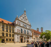 View of the St. Michael's Church and the pedestrian street of Neuhauser in centre of Munich. Bavaria. MUNICH, GERMANY - JUNE 7, 2016: View of the St. Michael's Royalty Free Stock Photo