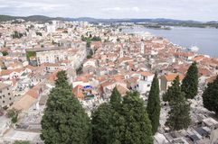 View from St. Michael`s Fortress in Sibenik stock image