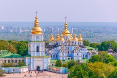 View of St. Michael`s Golden-Domed Monastery from the Bell Tower of Saint Sophia Cathedral.Kiev.Ukraine royalty free stock images