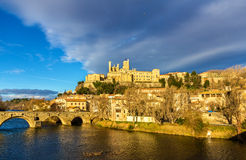 View of St. Nazaire Cathedral and Pont Vieux in Beziers Royalty Free Stock Image