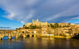 View of St. Nazaire Cathedral and Pont Vieux in Beziers Stock Photo