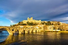 View of St. Nazaire Cathedral and Pont Vieux in Beziers Stock Images
