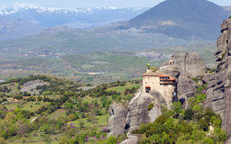 View of St. Nicholas Anapausas monastery, Meteora, Greece Royalty Free Stock Photography