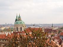 View St Nicholas Church in Prague – Lesser Town, from Old Castle royalty free stock photography
