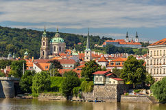 View St. Nicholas Church and Strahov Monastery in Prague Stock Photos