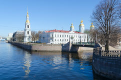 View of St. Nicholas the Epiphany Cathedral on Kryukov Canal Embankment, St. Petersburg, Russia Royalty Free Stock Photo