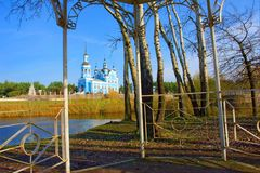 View at the St. Nikolai's cathedral from a pavilion. Shot in a small town in Poltavska region, Ukraine Royalty Free Stock Photos