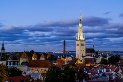 View of the St. Olaf Cathedral  in old Tallinn at sunset . Eston Stock Photo