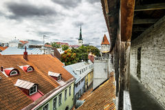 View of St. Olaf  Cathedral and the streets of old Tallinn city Royalty Free Stock Photos