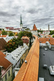 View of St. Olaf  Cathedral and the streets of old Tallinn city Stock Image