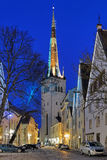 View of St. Olaf's Church in Tallinn Old Town in dusk, Estonia Royalty Free Stock Image