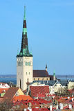 View of the St. Olaf's Church in the Tallinn Old Town, Estonia Stock Images