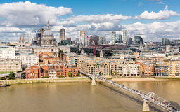 View of St Paul Cathedral, Millenium Bridge and the City of Lond Royalty Free Stock Photography
