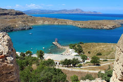 View of St Paul's Bay from Acropolis, Lindos. Rhodes, Greece Royalty Free Stock Photography