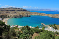 View of St Paul's Bay. Lindos. Rhodes, Greece Royalty Free Stock Photography
