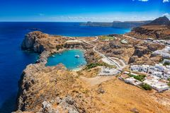 View of St. Paul´s bay, Lindos village and Mediterranean Sea fr stock images