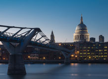 View on ST Paul's Cathedral. Evening view on ST Paul's Cathedral and Milenium bridge Royalty Free Stock Photos