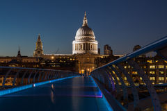 View on ST Paul's Cathedral. Evening view on ST Paul's Cathedral and Milenium bridge Stock Photos