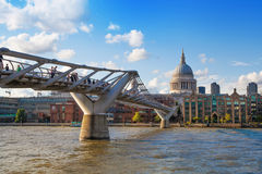 View on St. Paul's cathedral from foot bridge Stock Images