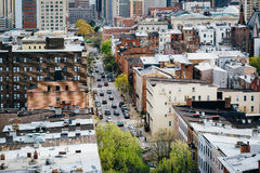 View of St. Paul Street, in Mount Vernon, Baltimore, Maryland. Stock Images