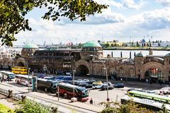 View of St Pauli Landungsbrucken in Hamburg port. HAMBURG, GERMANY - SEPTEMBER 15, 2017: above view of St. Pauli Landungsbrucken Sankt Pauli Piers landing place Stock Photo