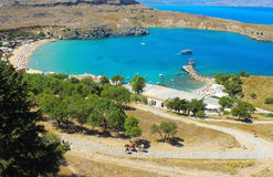 View of St Pauls Bay. Lindos. Rhodes, Greece Royalty Free Stock Photos
