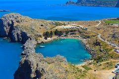 View of St Pauls Bay. Lindos. Rhodes, Greece Stock Image
