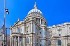 View of St Pauls Cathedral London England. Showing dome Royalty Free Stock Photo