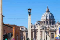 View of St. Peter Basilica from via Conciliazione Stock Images