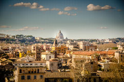 View at the St Peter over Rome. Blue sky and clouds Royalty Free Stock Images