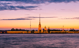 A view of St.Peter and Paul cathedral from the Neva river in the white night. Royalty Free Stock Photos