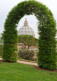 View on St. Peter's Basilica. From Vatican Gardens; Rome Stock Photos