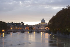 View of st peters basilica and st angel bridge stock photography