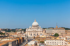 View of the St Peter's Basilica and Vatican city Stock Photography