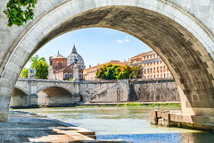 View of the St. Peter`s cathedral in Rome, Italy. Beautiful view of the Tiber river, bridge and St. Peter`s cathedral in Rome, Italy Stock Photos