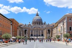 View at St. Peter`s cathedral in Rome, Italy stock image