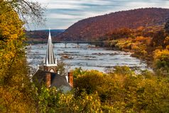Harpers Ferry, West Virginia. This is a view of St. Peter`s Roman Catholic Church in Harpers Ferry, West Virginia overlooking the Shenandoah River . Harpers royalty free stock photography