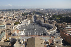 View of St. Peter's Square. View on St.Peter Square from roof of St.Peter Basilica Stock Photo