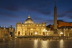 View on St. Peter`s square at the Vatican late in the evening Royalty Free Stock Images